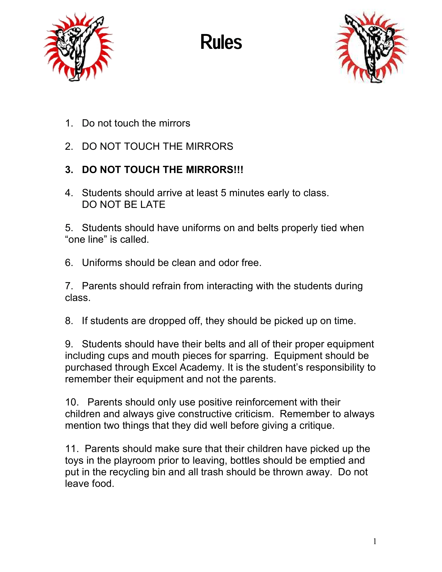 Page 1 of the Excel Academy Student Handbook