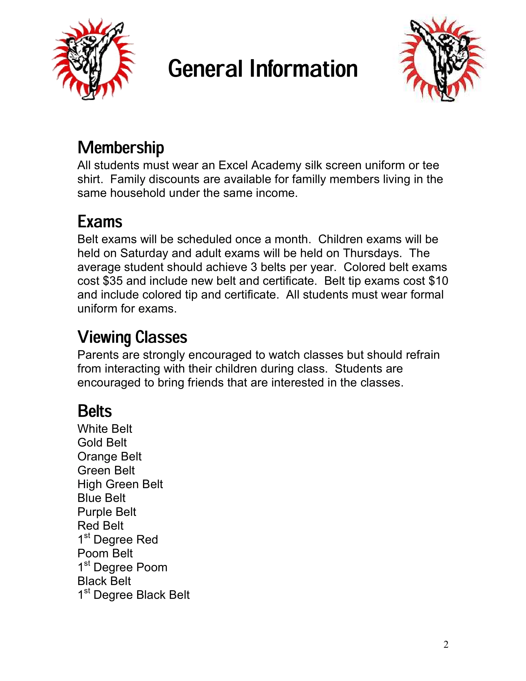 Page 2 of the Excel Academy Student Handbook