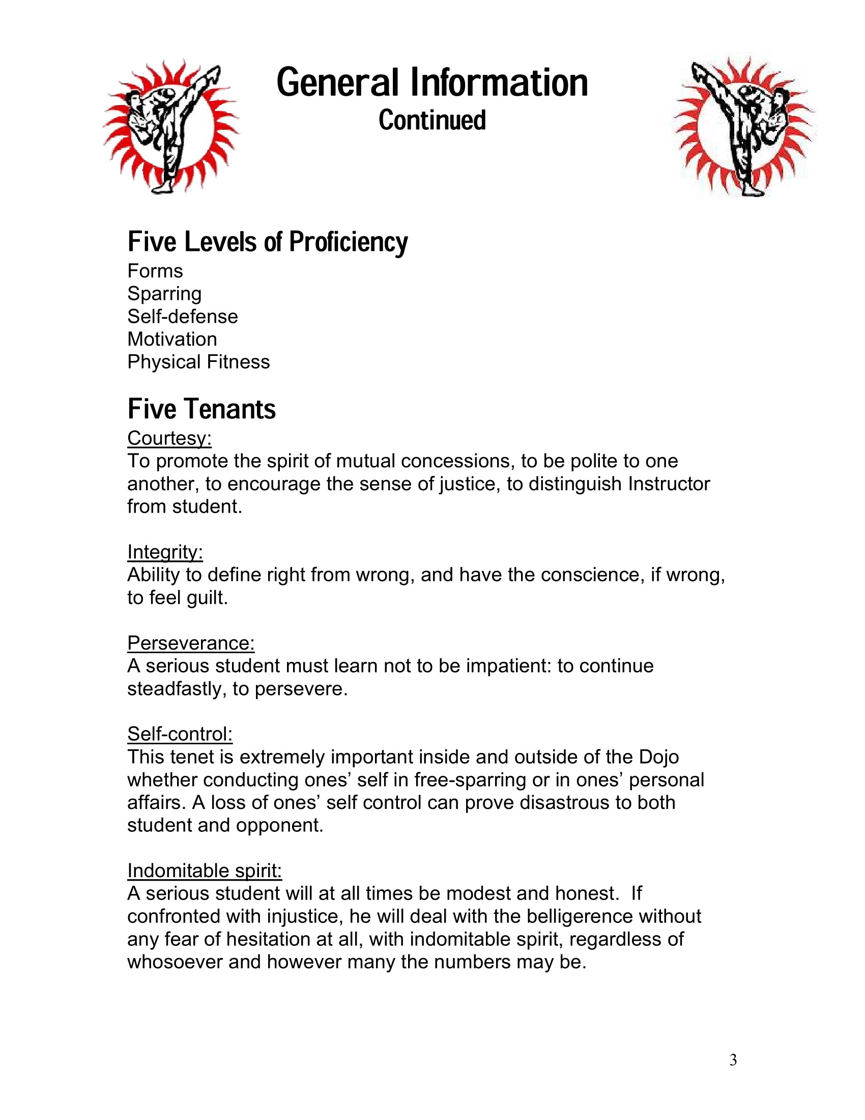 Page 3 of the Excel Academy Student Handbook