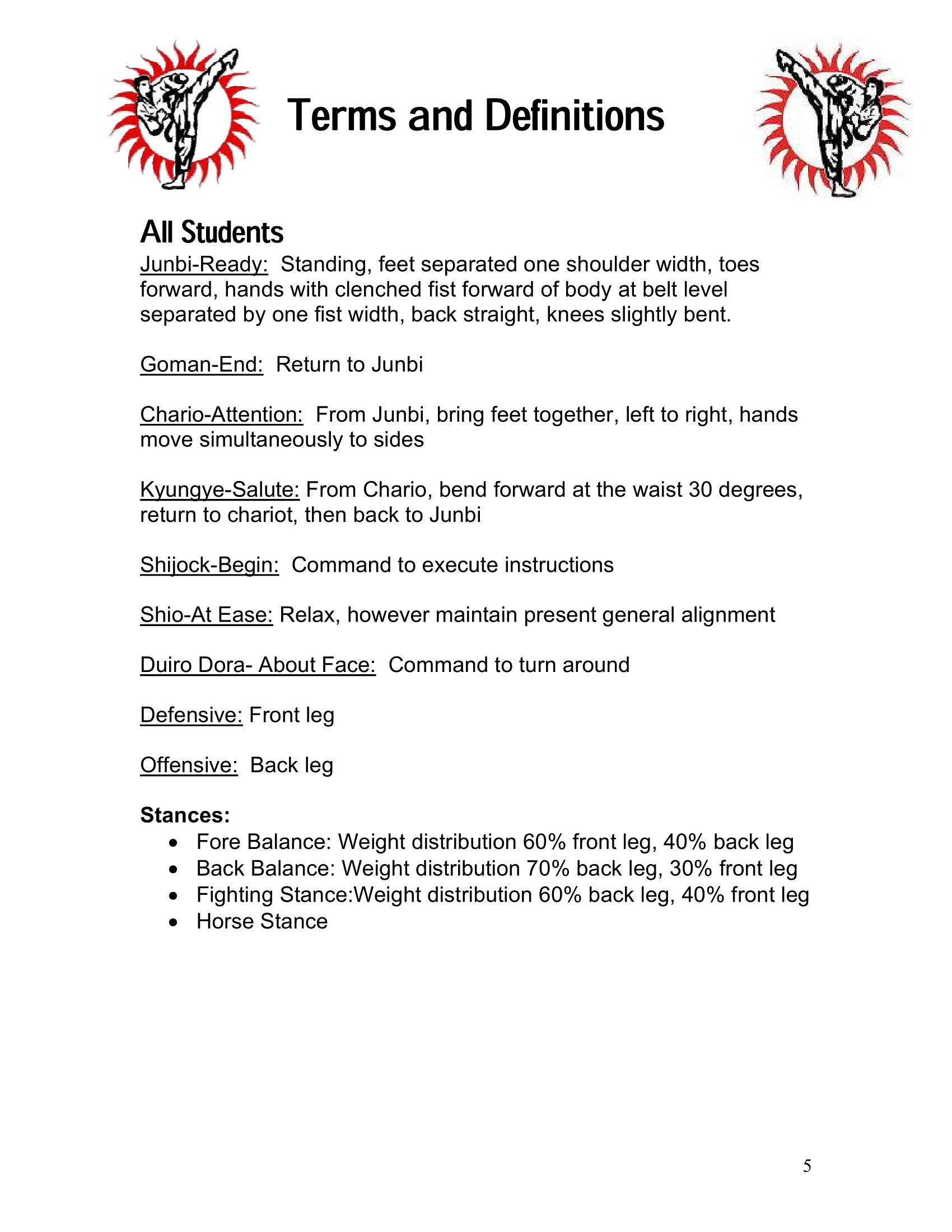 Page 5 of the Excel Academy Student Handbook