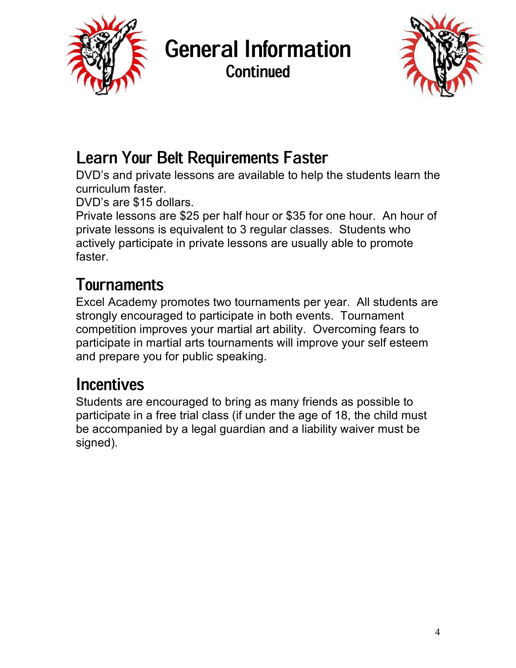 Page 4 of the Excel Academy Student Handbook