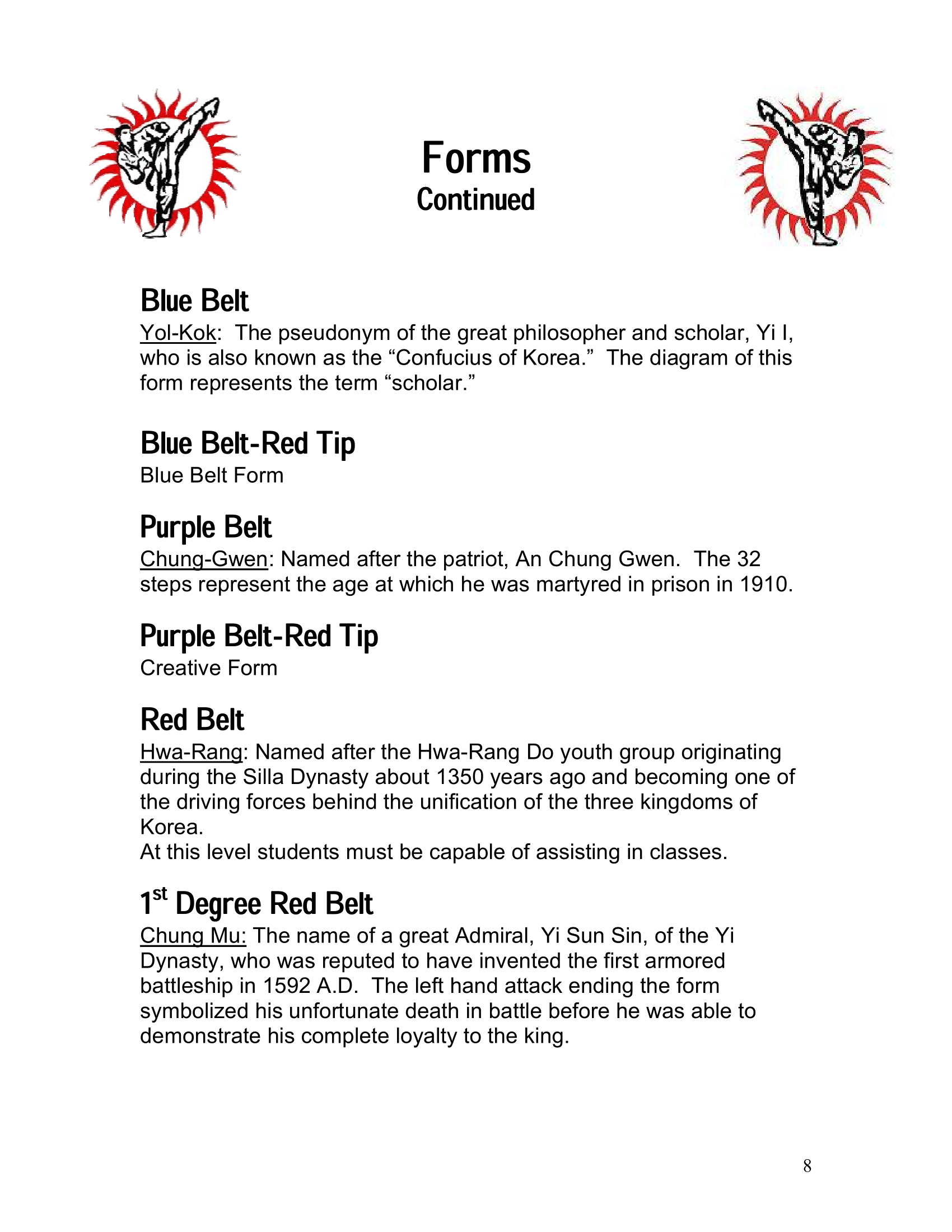 Page 8 of the Excel Academy Student Handbook